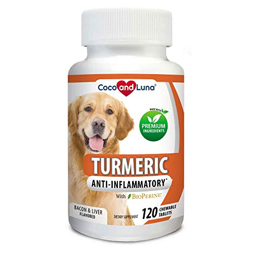 Turmeric for Dogs - Anti Inflammatory for Dogs - Curcumin and BioPerine, Antioxidant, Promotes Pet Mobility and Pain Relief, Prevents Joint Pain and Inflammation - 120 Natural Chew-able Tablets.