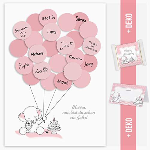 Mia Félice Gästebild 1. Geburtstag, Erster Geburtstag, Geschenk, Gastgeschenk, Deko, Andenken, Idee, Glückwünsche, Fingerabdruck, Erinnerungsstück, zum beschreiben Elefant mädchen rosa