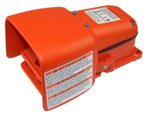 Linemaster 532-SWH Hercules Foot Switch, Electrical, Single Pedal, Momentary, DPDT, Single Stage, Full Aluminum Guard, Orange