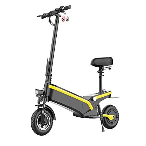 Patinete eléctrico para adultos,Potente motor de 500 W y velocidad máxima de 60 km / h, Neumático de vacío de 10 '',Patinete eléctrico plegable con asiento extraíble, con bloqueo remoto,Amarillo,13AH