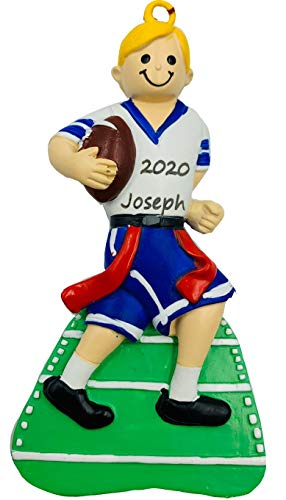 Personalized Flag Football Christmas Ornaments 2020 Boy Blonde