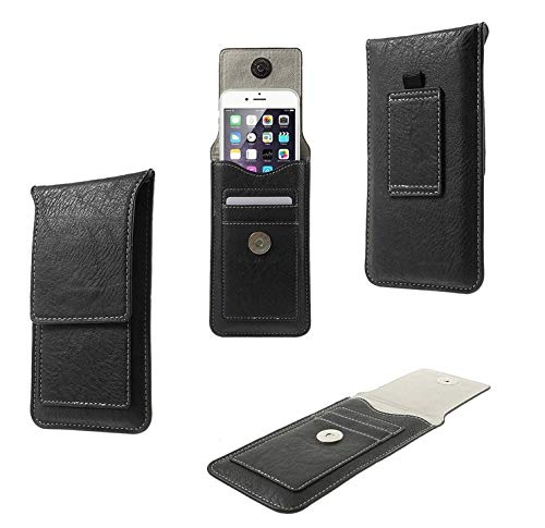 DFV mobile - Belt Case Cover Premium Synthetic Leather Vertical and Card Slots for PRESTIGIO WIZE Q3 (2018) - Black