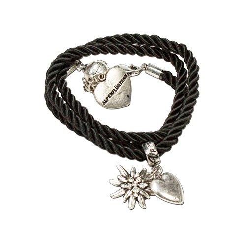 Heimatflüstern Trachtenarmband Kordel mit Strass-Edelweiss - Damen Trachten-Armkette mit Herz-Anhänger, Kordel-Armband zum Wickeln fürs Oktoberfest Dirndl-Schmuck (schwarz)