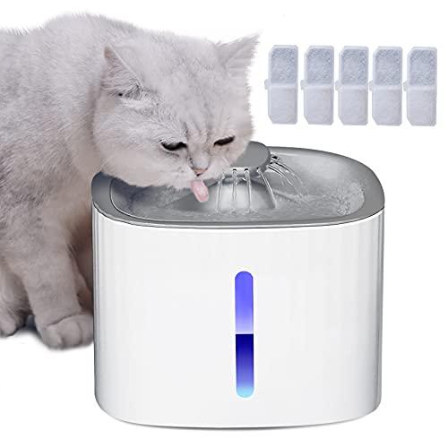 3L Katzen Trinkbrunnen, Katzenbrunnen Mit 5 Aktivkohlefilter, Pumpe,Wasserstand Fenster,Mit Intelligentes LED-Licht,Automatische Abschaltung und Super Leise