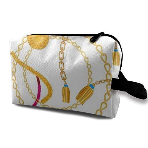 zmzm Bolsas de Almacenamiento con cremallerasMakeup Bag Cosmetic Pouch Chains Golden Rings...