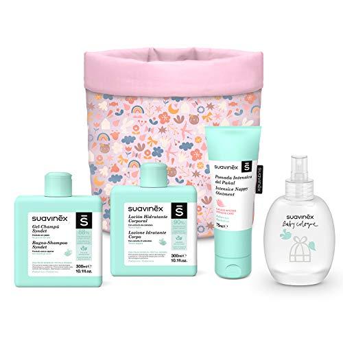 SUAVINEX 401314 - Suavinex, Organizador Tela Para Bebés con Baby Cologne, Loción Hidratante, Pomada Intensiva y Gel-Champú Syndet. 4 productos, Rosa, niñas