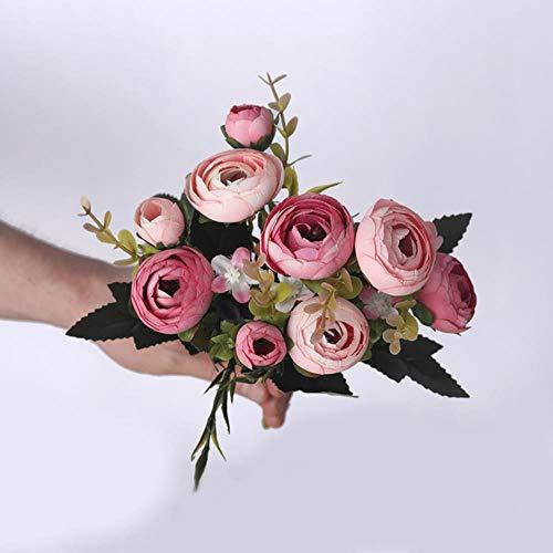 QVC Künstliche Tee-Rosen aus Seide, Brautstrauß für Zuhause, Hochzeit, Party, Dekoration, künstliche Blumen, Tischdekoration rosarot