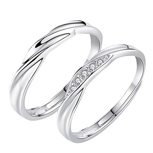 minjiSF Anillos de plata de ley para mujer y hombre, anillos de amor retro, anillo de recuerdo abierto del año con diamantes incrustados, 2 unidades