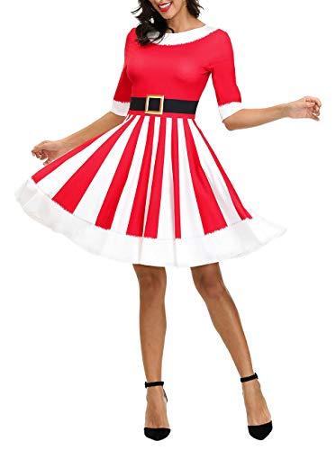 Ainuno Sexy Santa Costumes for Women Christmas Dresses Tacky Ugly Xmas Shirt Dress,Santa S