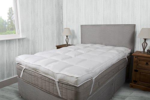 Lussuoso coprimaterasso spesso 10cm, cotone a 200 fili, qualità per hotel., Tessuto, White, Super King (180 x 200 cm)