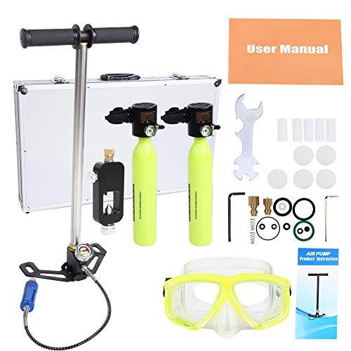 Tragbare Sauerstoffflasche Tauchen 2 Stück Mini Scuba Diving Sauerstoffflasche Hochdruckluftpumpe Oxygen Cylinder Nachfülladapter Taucherbrille Set Schnorchelausrüstung Tauchen atmen Unterwasser