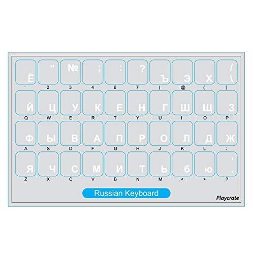 2er-Pack Russische Tastatur-Aufkleber transparent für Computer PC Laptop Notebook (Weiß)