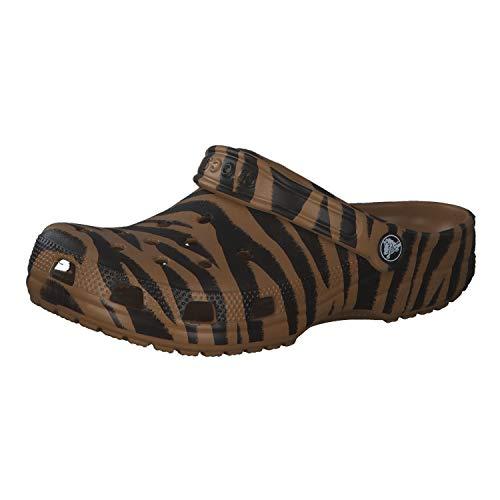CROCS Shoes - Classic Animal Print Clog - Dark Gold Zebra Print, Tamaño:38/39 EU