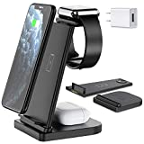 Wireless Charger, Hargedis Wireless Charging Station, QI 3 in 1 Wireless Charger for iPhone 11/11 Pro Max/XR/XS Max/Xs/X/8/8P, iWatch 5/4/3/2 AirPods Pro/Airpods 2(with QC3.0 Adapter)