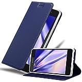 Cadorabo Hülle für Sony Xperia E5 in Classy DUNKEL BLAU – Handyhülle mit Magnetverschluss, Standfunktion & Kartenfach – Hülle Cover Schutzhülle Etui Tasche Book Klapp Style