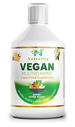 Nutrality Vegan Liquid Multivitamin Supplement, 500 mL, Advanced Vitamin Superfood Greens Blend with CoQ10, K2, B12 and Iron, Supports Brain and Cardiovascular Health, Men and Women, 33 Days Supply
