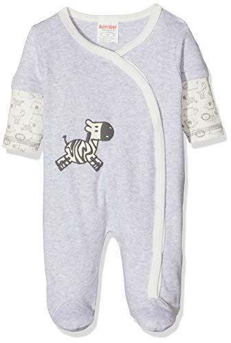 Schnizler Baby-Mädchen Schlafoverall Interlock Zebra Schlafstrampler, Grau (Grau/Melange 37), (Herstellergröße: 62)