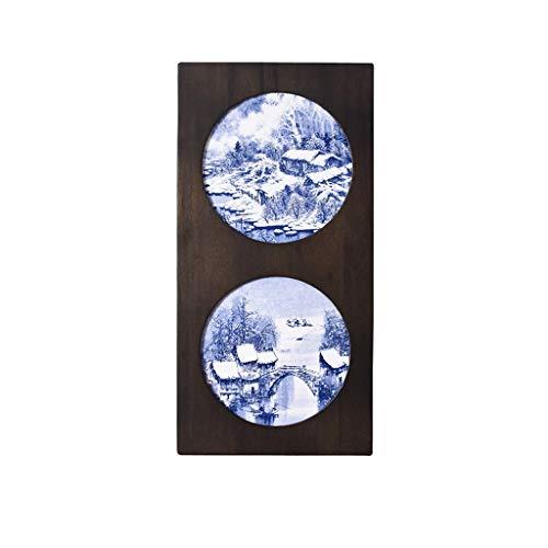Desktop-Skulptur Blau Und Weiß Kreative Keramikplatte Malerei Veranda Wohnzimmer Sofa Hintergrund Wanddekoration Landschaft Eingelegten Porzellan Gemälde Massivholzrahmen (Color : C)