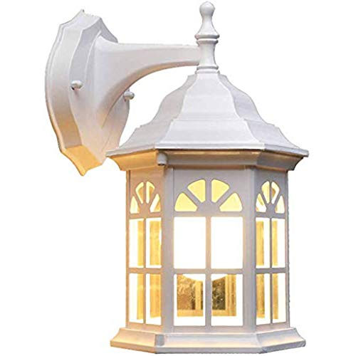 HLWAWA Lámpara de Pared Exterior Blanca Exterior de Aluminio Fundido y Vidrio for Patio Patio calzada Piscina