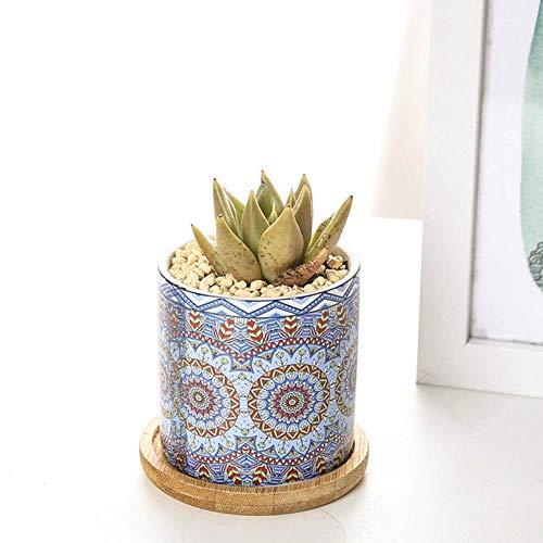 SYART Vaso di Fiori Mandala Barilotto cilindrico Vaso di Fiori cilindrico in Ceramica carnosa Vasi per Piante grasse nordici Vaso Semplice Stile MandalaFioriera, A