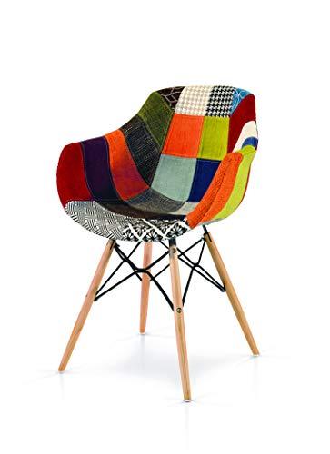 Fashion Commerce 01-FC918 Poltroncina con braccioli in Tessuto Patchwork, Lino, Multicolore, 1 Sedia