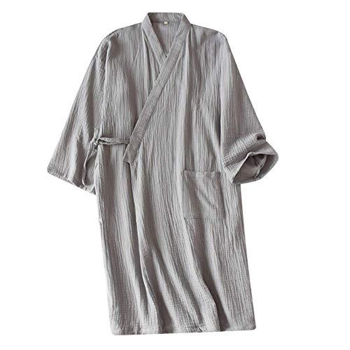 Bademantel Herren Japanischer Kimono Morgenmantel Lang Pyjamas Baumwolle Saunamantel Nachtwäsche Schlafanzug Robe Negligee Nachthemd V-Ausschnitt Lingerie Locker Sleepwear mit Tasche (Grau B)