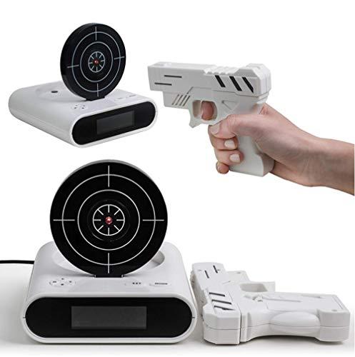 rrff 1Set Gun Wecker/Shoot Wecker/Gun O'Clock/Lock Load Ziel Wecker Office Gadgets 13,8 * 4,3 * 14,5 cm