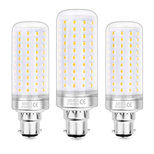 Hzsanue Lampadine LED 26W, 200W Lampadine a Incandescenza Equivalenti, 2600Lm, 3000K Luce Bianca Calda, B22 Cappellino Baionetta, Confezione da 3