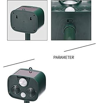 TOOSDrepellent Alarme Anti-Intrusion Solaire à Commande Animale pour Animaux domestiques Destructeur d'animaux à ultrasons Flash LED