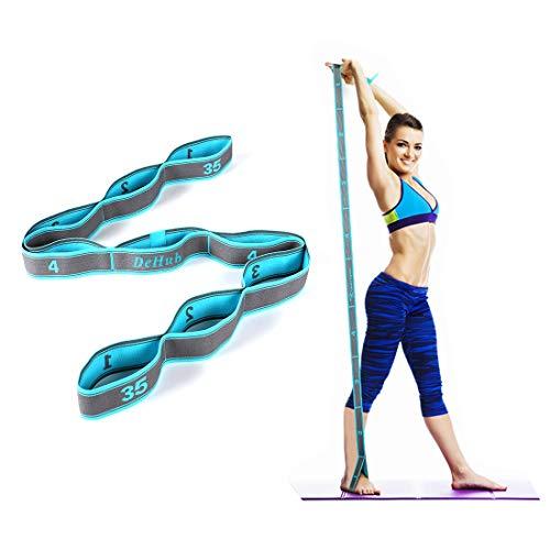 DeHub Elastico Fasce di Resistenza, Cinturino per Esercizi con 8 Loops per Bambini e Adulti - Bande Fitness per Pilates, Stretching, Fitness, Ginnastica, Danza e Allenamento. (Blu)