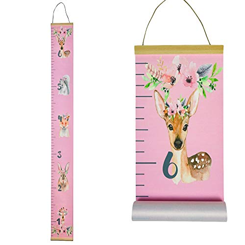 Morxy Canvas Growth Chart for Kids - Kids Room Decor for Girls - Woodland Animals Pink Tape Measure with a Height Chart for Wall