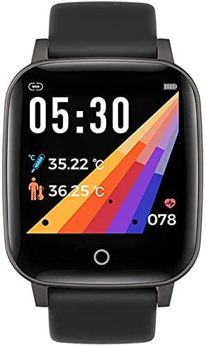 Hombres s reloj inteligente Bluetooth impermeable reloj deportivo multifunción Fitness Tracker termómetro Calorías paso sueño Monitoreo multifuncional reloj de salud