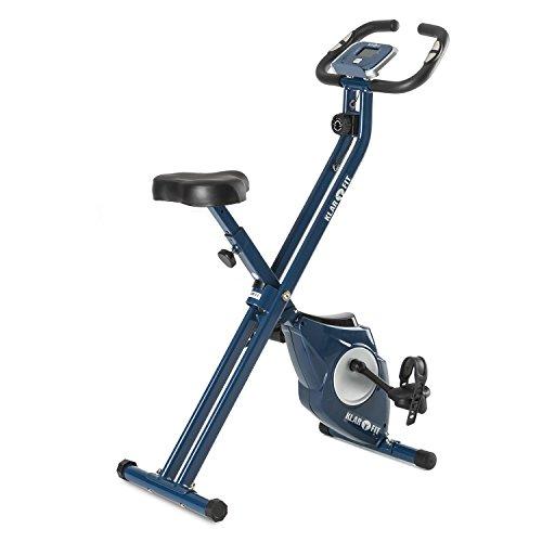 Klarfit Azura [CF/Pro] X-Bike - Fitness Bike, Cardio Bike, Ergometer, Heimtrainer, Trainingscomputer, Pulsmesser, 8-stufig Verstellbarer Widerstand, 3 kg Schwungmasse, 100 kg max, blau