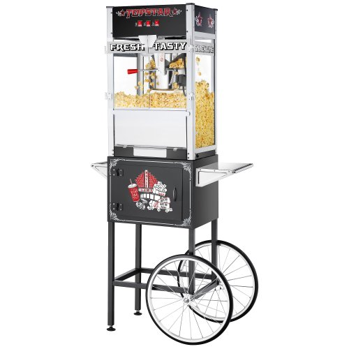 Find Bargain Great Northern Black Commercial Quality Popcorn Popper Machine with Cart, 12 Ounce