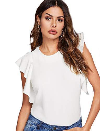 Romwe Women's Ruffle Sleeve Solid Elegant Wear to Work Blouse Top White L