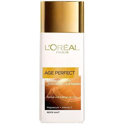 L'Oreal Paris Age Perfect Reinigungsmilch, reinigt und pflegt die Haut mit intensiver Feuchtigkeit, 200 ml