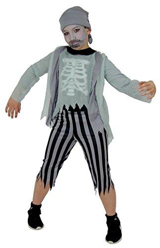 Foxxeo Skelett Geister Piraten Kostüm für Jungen Halloween Karneval Pirat Kinder Fasching Kostüme Größe 146-152