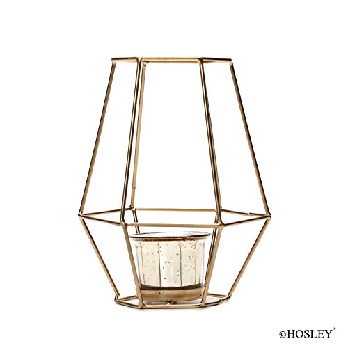 Hosley 7 Inch High Lantern with Metallic Gold Glass. Ideal Gift for Weddings, Parties, Special Events, Spa, Aromatherapy, Votive Tealight Pillar Candle Gardens. W5