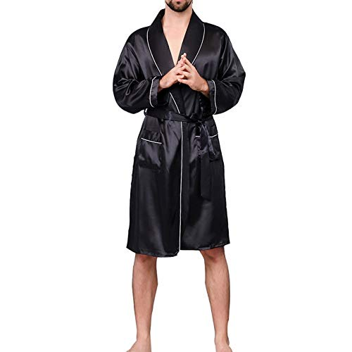 YUHUALI 2019 New Herren Schwarz Casual Pyjamas Kunstseide Pyjamas Herren Komfort Bademäntel Kleider Herren Pyjamas schwarz2 4XL