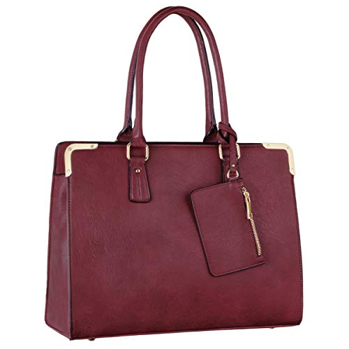 CRAZYCHIC - Damen Tote Handtasche - Frauen Large Shopper Bag PU Leder - Arbeit Schule Aktentasche Businesstasche - Umhängetasche Schultertasche Elegante - Messenger Bag Crossbody Tasche - Bordeaux Rot