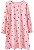 BOOPH Girls Long Sleeve Cotton Princess Nightgown Sleep Shirt 3-4T Fruits Pink B