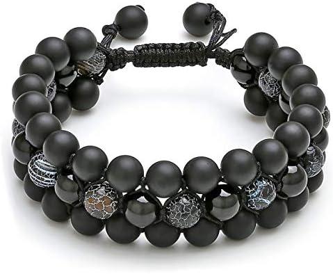 Jovivi Beads Chakra Bracelet Multi Layer Matte Onyx Gemstone Black Obsidian Natural Yoga Beads product image