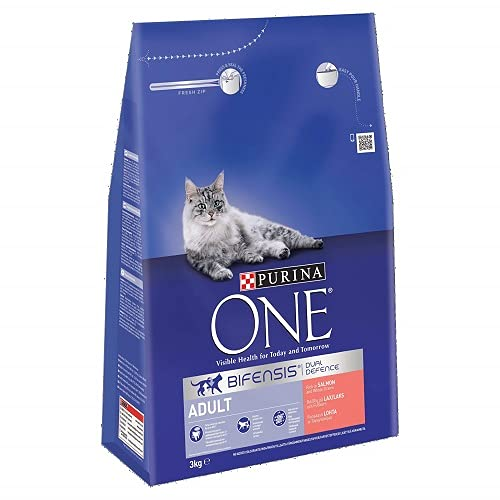 Purina One Adult Cat Food Salmon and Whole Grain, 3kg