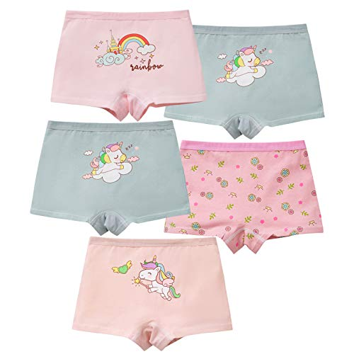 MiSense 5er Pack Mädchen Unterhosen Baumwolle Unterwäsche Maedchen Boxershorts für 2-11 Jahre(4-5 Jahre,G102-M)