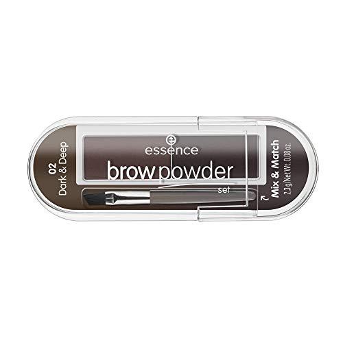 essence brow powder set, Nr. 02 dark & deep, mehrfarbig, 2 Braun-Töne, definierend, sofortiges Ergebnis, matt, vegan, Nanopartikel frei, ohne Parfüm, 3er Pack (3 x 2,3g)