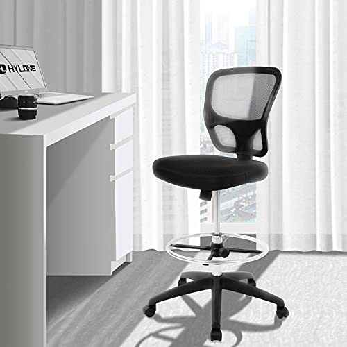 Mesh Drafting Chair Tall Office Chair Ergonomic Standing Desk Chair with Tilt Seat and Adjustable Foot Ring (Black)