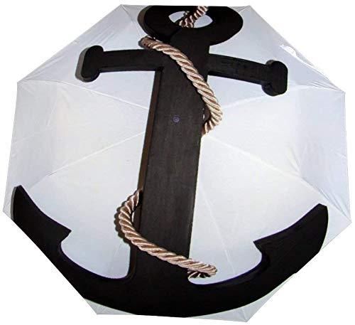 Paraguas Plegable de Ancla Naval Science Makammos Sea Dekor Auto Paraguas Abierto a Prueba de Viento Ligero Compacto al Aire Libre Paraguas Sol y Lluvia