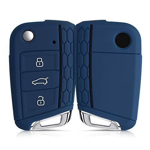 kwmobile Funda de Silicona Compatible con VW Golf 7 MK7 Llave de Coche de 3 Botones - Carcasa Suave de Silicona - Case Mando de Auto Azul Oscuro/Negro
