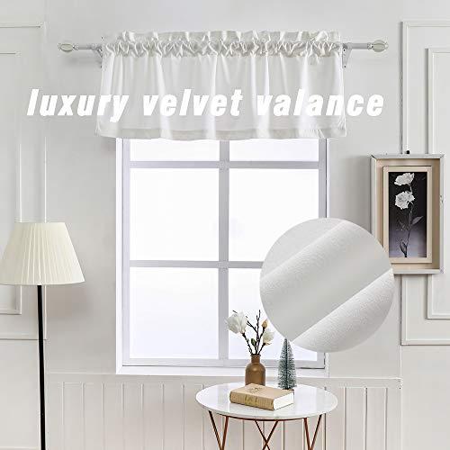"WdFour Super Soft Luxury White Velvet Valance, Rod Pocket Short Curtain for Window, Bedroom, Kitchen , Bathroom 52""W x 18""L White- 1 PC"
