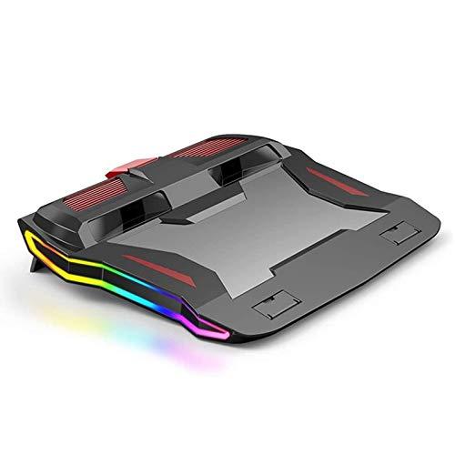 Almohadilla de enfriamiento de la computadora portátil, adecuada para todos los bastidores de refrigeración por computadora portátil menores de 18 pulgadas con (retroiluminación RGB y ventilador USB),